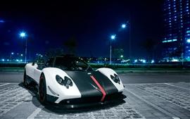 Pagani Zonda Cinque sports car at Singapore city night