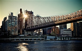 Queensboro Bridge, edifícios, pôr do sol, New York, EUA