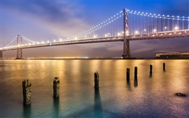 San Francisco bridge at night, bright lights