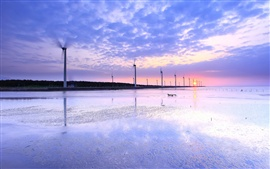 Taiwan, sea shore, windmills, sunset evening, water reflection, sky clouds