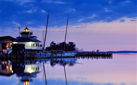 USA, Maryland, lighthouse, bay, night, blue sky, water reflection