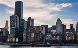 Estados Unidos, Nueva York, rascacielos, edificios, barco, mañana