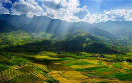 Вьетнам, провинцию Йенбай, красивые пейзажи, долины, поля
