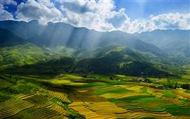 Vietnam, provincia de Yen Bai, bellos paisajes, valles, campos