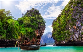 Preview wallpaper Ao Nang, Krabi, Thailand, bay, ocean, boat, rocks, mountains