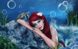 Art menina fantasia, sereia, maquiagem, cabelo vermelho, debaixo d'água