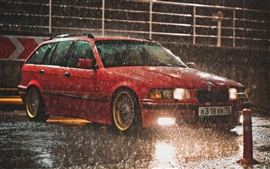 Preview wallpaper BMW E36 Touring red color, raining night