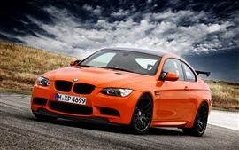 BMW M3 E92 orange supercar, sky, clouds