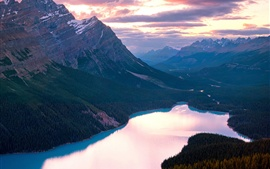 Canadá, Banff National Park, Lake, montanhas, pôr do sol