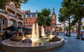 Ville Amsterdam, Nederland, fontaine, hôtel, rue