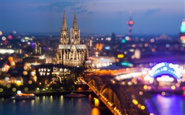 Cologne, Germany, Cologne Cathedral, Rhein river, bridge, city night lights