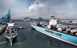 Preview wallpaper Container, ship, cargo, port, smoke