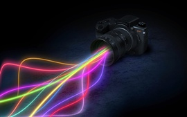 Creative design, camera lens colorful light