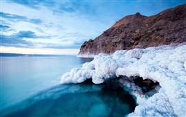 Preview wallpaper Dead sea coast, white salt, blue sea