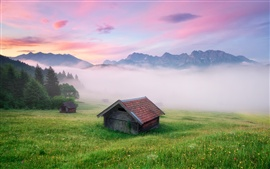 Preview wallpaper Germany scenery, the Alps, fog, houses