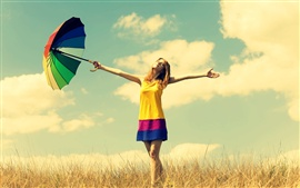 Happiness girl, rainbow umbrella, warmth nature, sky clouds