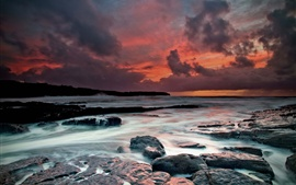 Preview wallpaper Ireland, west coast, the Atlantic Ocean, beach, stones, dusk