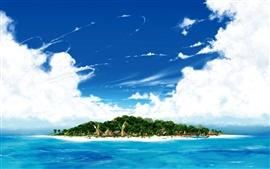 Island in the sea, beach, blue sky, white clouds