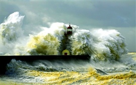 Lighthouse, storm, sea, coast, waves