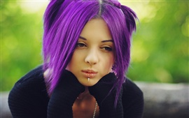 Lonely purple hair girl