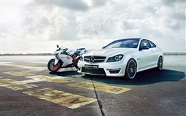Preview wallpaper Mercedes Benz C63 AMG car, Ducati 848 motorcycle