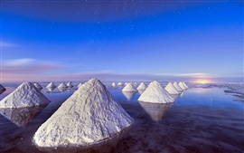 Piles of salt, Dead Sea, blue sky