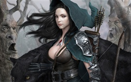 Render fantasy girl, black hair, bow arrow, magic forest