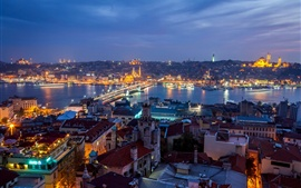 Preview wallpaper Turkey, Istanbul, city night, houses, lights