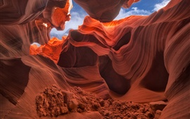 Preview wallpaper USA, Arizona, Antelope Canyon, rocks, stones, sky, red