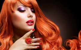 Preview wallpaper Very beautiful red hair girl