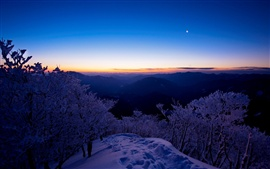 Preview wallpaper Winter landscape, top view the mountains, snow, trees, sunset