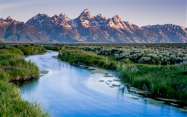 Preview wallpaper Wyoming, USA, Grand Teton National Park, mountains, river, grass