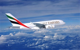Preview wallpaper A380 aircraft flying in the sky, clouds, blue