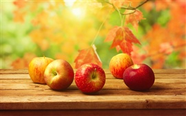 Preview wallpaper Autumn harvest, red apples on table, delicious fruit