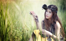 Preview wallpaper Beautiful asian girl, guitar, music, grass