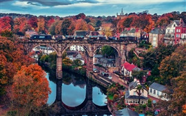 Preview wallpaper Beautiful town, bridge, house, trees, autumn, river, train