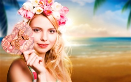 Preview wallpaper Blonde girl, tulips garland, heart, beach
