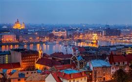 Budapest, Hungría, ciudad, edificios, casas, río, Puente de las Cadenas, luces de noche