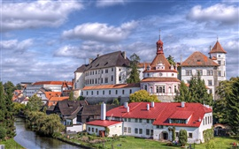 Preview wallpaper Czech Republic, city, castle, house, river, trees, sky, clouds