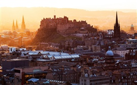 Preview wallpaper Edinburgh Castle, Scotland, United Kingdom, city, houses, buildings, dawn