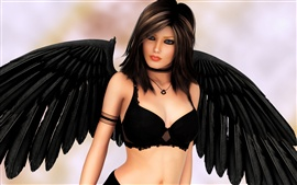 Fantasy girl, angel, black wings