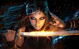 Fantasy girl use flame sword