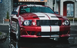 Ford Mustang Saleen car, red and white, rain