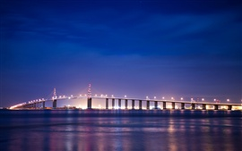 Preview wallpaper France, Brittany, river, bridge, night lights