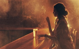Preview wallpaper Girl drink in the bar