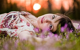 Preview wallpaper Girl lying grass