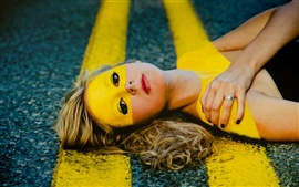 Preview wallpaper Girl lying road, creative