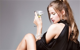 Preview wallpaper Girl with martini cocktail