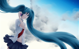 Preview wallpaper Hatsune Miku, blue hair girl, tears