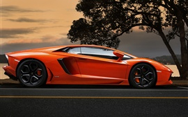 Preview wallpaper Lamborghini Aventador LP700-4 orange supercar at sunset